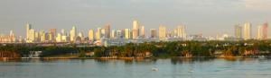 Downtown Miami skyline as seen from Miami Beach...