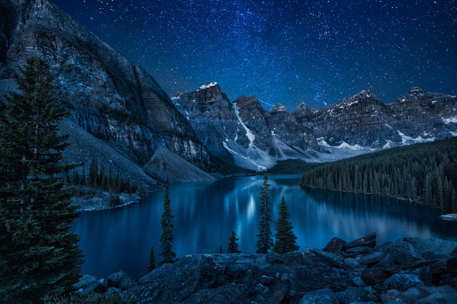 Moraine Lake at night by Andrey Popov on 500px.com